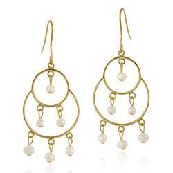 Glitzy Rocks 18k Gold over Silver Freshwater Pearl Chandelier Earrings (4-5 mm)