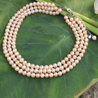 Triple Halo Round Pink Freshwater Pearls with 925 Sterling Silver Adjustable Three Strand Womens Collar Necklace (Thailand)