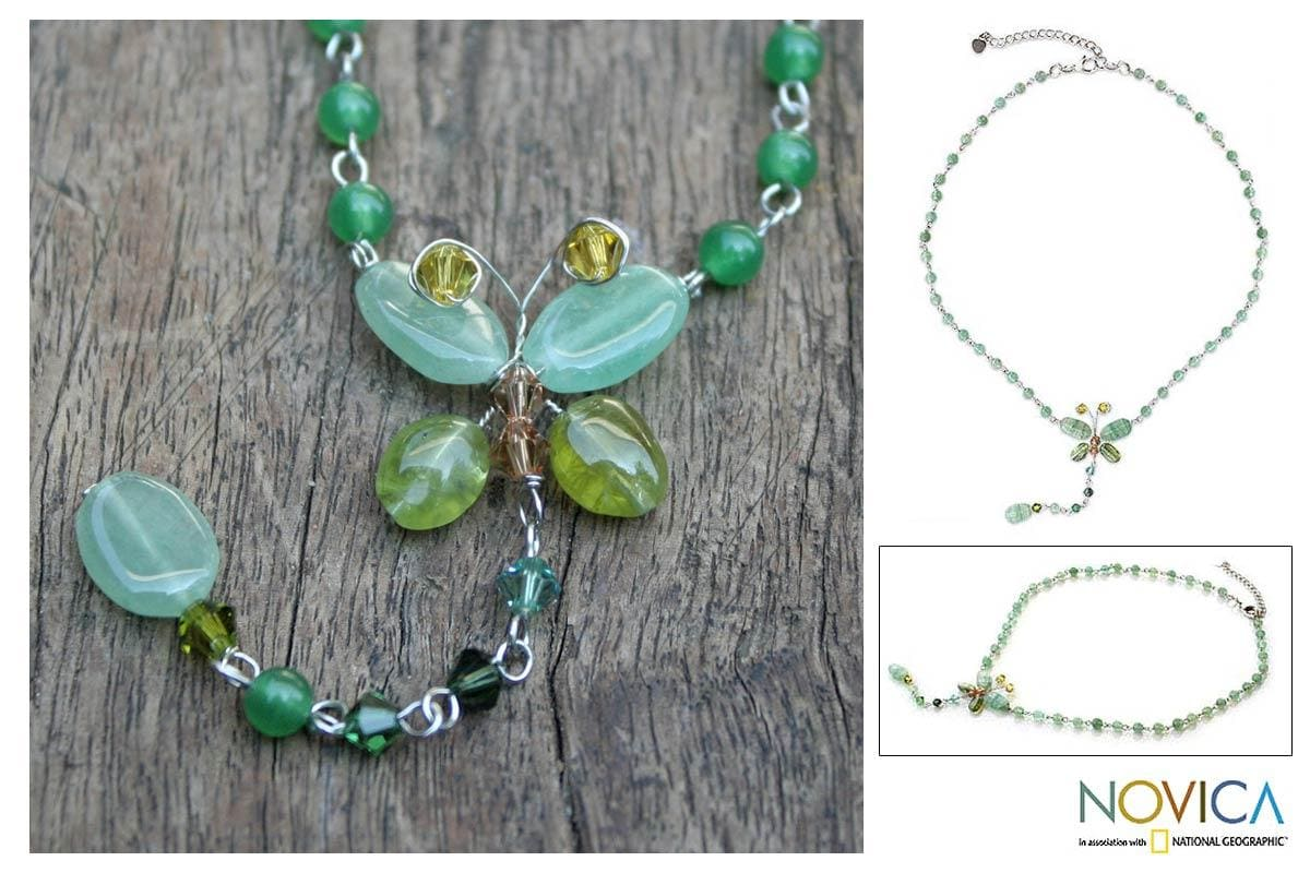 Handmade Stainless Steel 'Butterfly Love' Quartzite Peridot Necklace (Thailand)