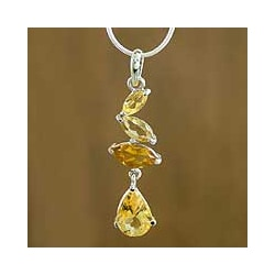 Handmade Sterling Silver 'Modern Gold' Citrine Necklace (India)