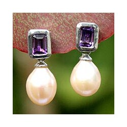 Handmade Sterling Silver 'Attraction' Pearl Earrings (10 mm) (Thailand)