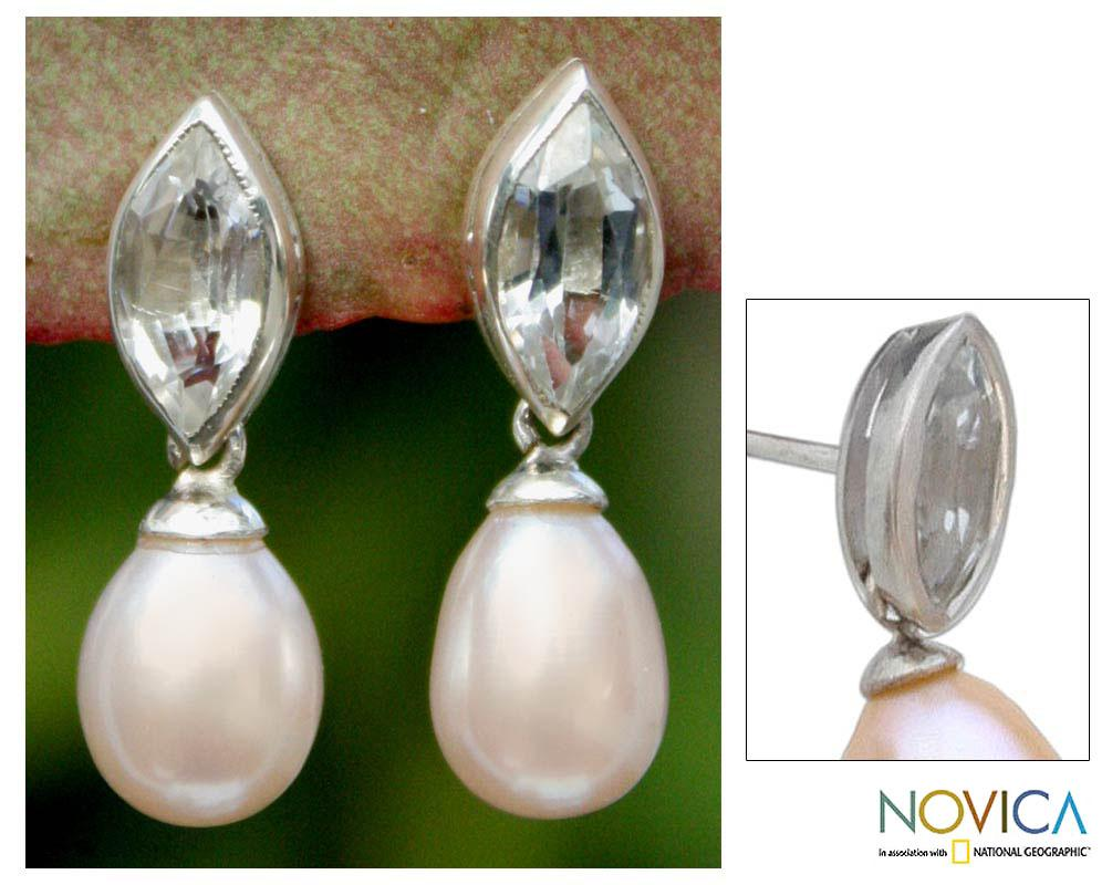 Silver 'Marquise' Pearl Topaz Dangle Earrings (10 mm) (Thailand)