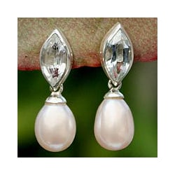 Handmade Silver 'Marquise' Pearl Topaz Dangle Earrings (10 mm) (Thailand)
