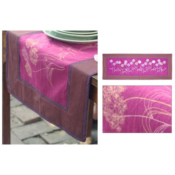 Handmade Cotton 'Purple Dandelions' Table Runner (Thailand)