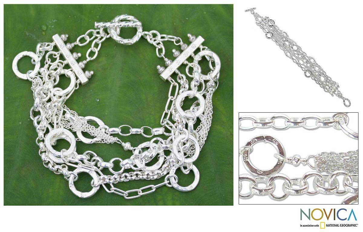 Sterling Silver 'Silver Contrasts' Bracelet(Thailand)