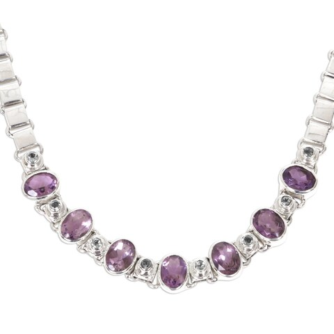 Handmade Exuberance Purple Amethyst and Peridot Faceted Multi Gemstones 925 Sterling Silver Womens Choker Necklace (Indonesia)