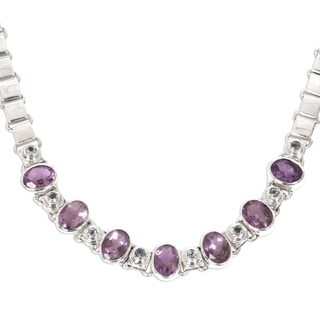 Exuberance Purple Amethyst and Peridot Faceted Multi Gemstones 925 Sterling Silver Womens Choker Necklace (Indonesia)