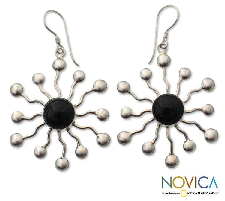 Sterling Silver 'Black Stars' Onyx Earrings (Indonesia)