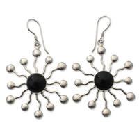 Handmade Sterling Silver 'Black Stars' Onyx Earrings (Indonesia)