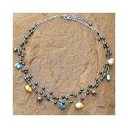 'Summer Glow' Brown Green Freshwater Pearl Choker (4-10 mm) (Thailand)