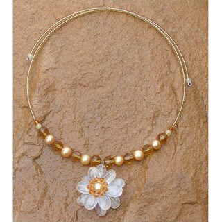 Steel 'Big Bloom' Citrine Gold Pearl Necklace (8 mm) (Thailand) - Yellow