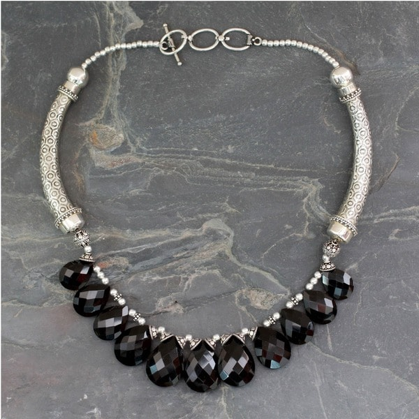 Handmade Sterling Silver 'Regal India' Onyx Choker (India)