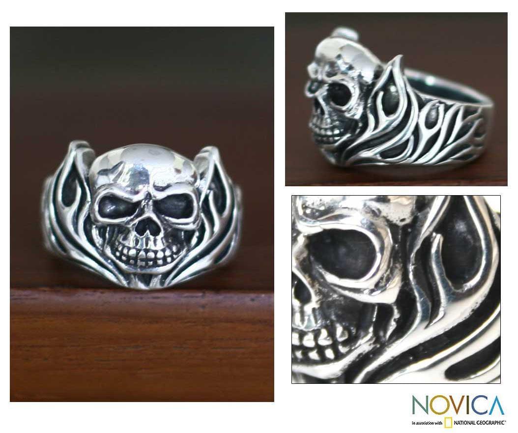 Handmade Sterling Silver Men's 'Skull of Fire' Ring (Indonesia)