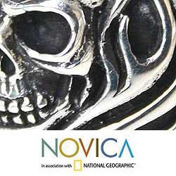 Handmade Sterling Silver Men's 'Skull of Fire' Ring (Indonesia) - Thumbnail 2