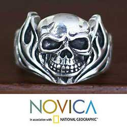 Sterling Silver Men's 'Skull of Fire' Ring (Indonesia)