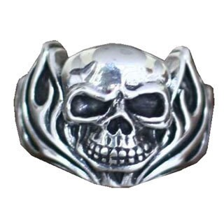 Handmade Sterling Silver Men's 'Skull of Fire' Ring (Indonesia)