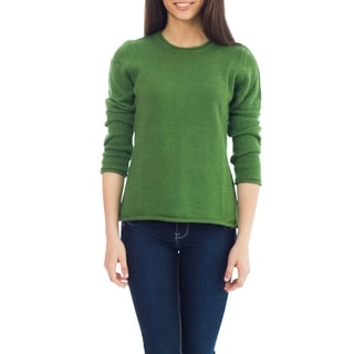 Handmade Alpaca Wool 'Winter Lime' Sweater (Peru)