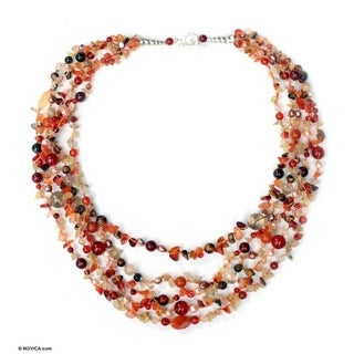 Handmade 'Summer Exuberance' Pink Freshwater Pearl Necklace (4 mm) (Thailand)