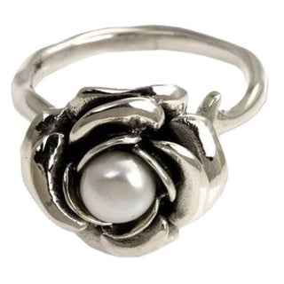 New Rose Handmade Floral Flower Blossom Women's Clothing Accessory Sterling Silver White Pearl Jewelry Ring Size 6mm (Indonesia)