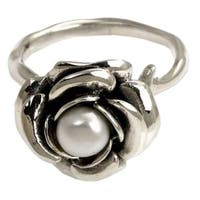 New Rose Handmade Floral Flower Blossom Women's Clothing Accessory Sterling Silver White Pearl Jewel