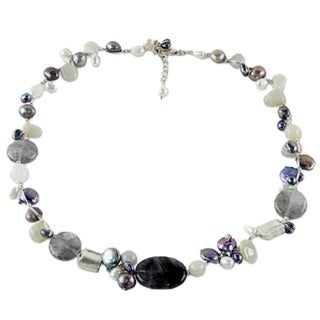 Handmade Silver 'Midnight Sea' Freshwater Pearl Necklace (6-10 mm) (Thailand)