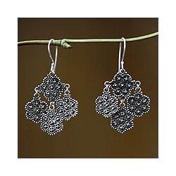 Handmade Sterling Silver 'Heartfelt Bouquet' Chandelier Earrings (Indonesia)