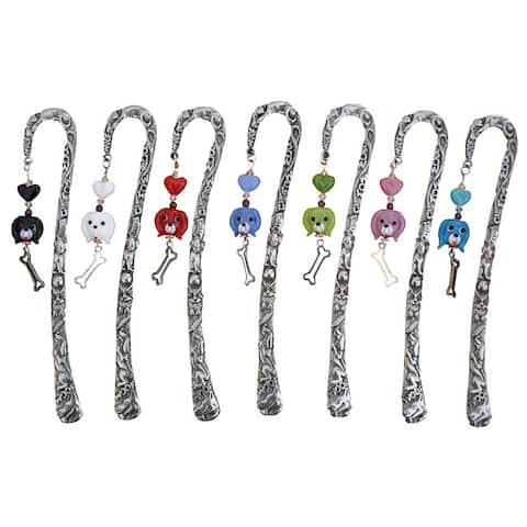 Handmade Beadwork by Julie Pewter Beaded Dog Bookmark