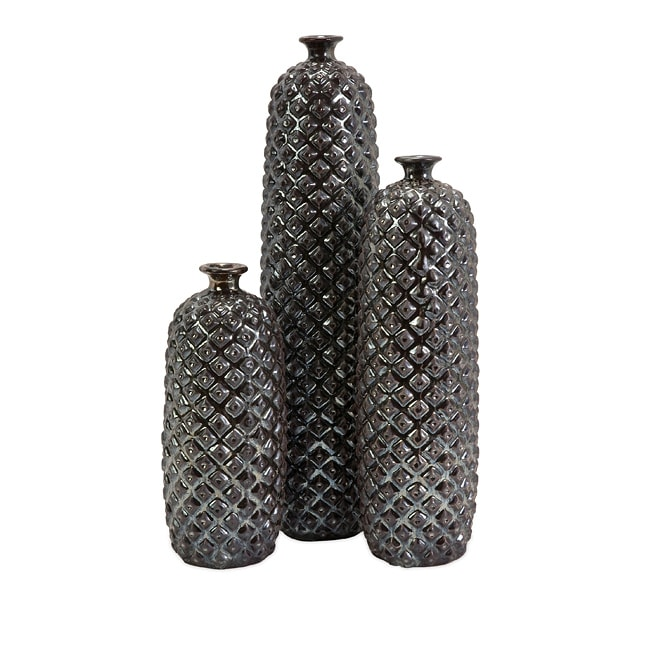 Ceramic Regent Deep Diamond Textured Bottles (Set of 3)