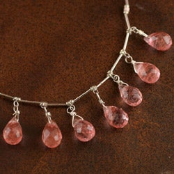 Sterling Silver Cherry Quartz Necklace (Native American)