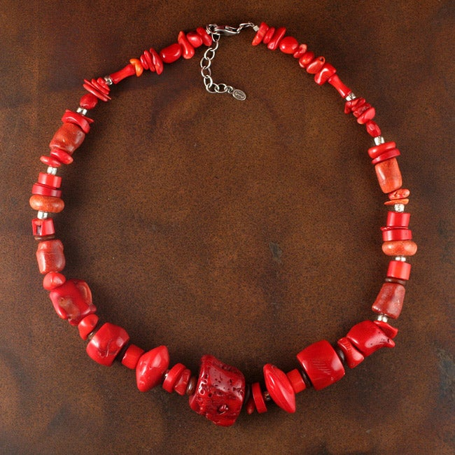 Sterling Silver Red Coral Necklace (China)