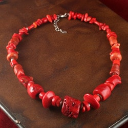 Sterling Silver Red Coral Necklace (China) - Thumbnail 1