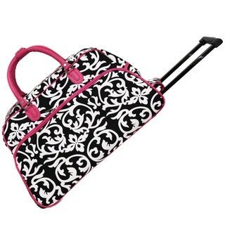 World Traveler Damask with Pink 21-inch Carry On Rolling Duffle Bag