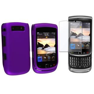 Purple Rubber Case/ Screen Protector for BlackBerry Torch 9800