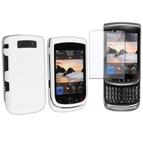 White Rubber Case/ Screen Protector for BlackBerry Torch 9800