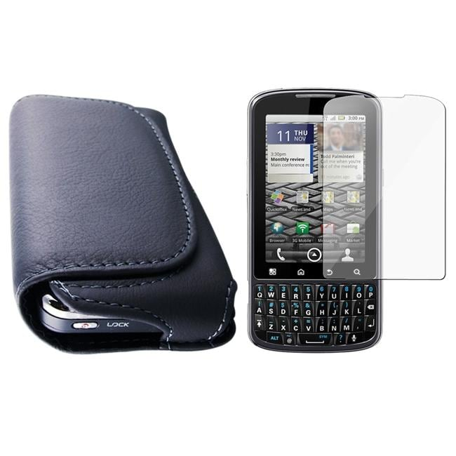 Horizontal Leather Case/ Screen Protector for Motorola A957 Droid Pro