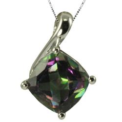 Gems For You Sterling Silver Cushion-cut Mystic Topaz Necklace
