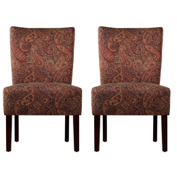 Portfolio Duet Emma Paisley Upholstered Armless Chairs (Set of 2)