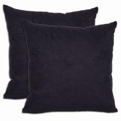 Black Microsuede Feather and Down Filled Throw Pillows (Set of 2) - Thumbnail 0