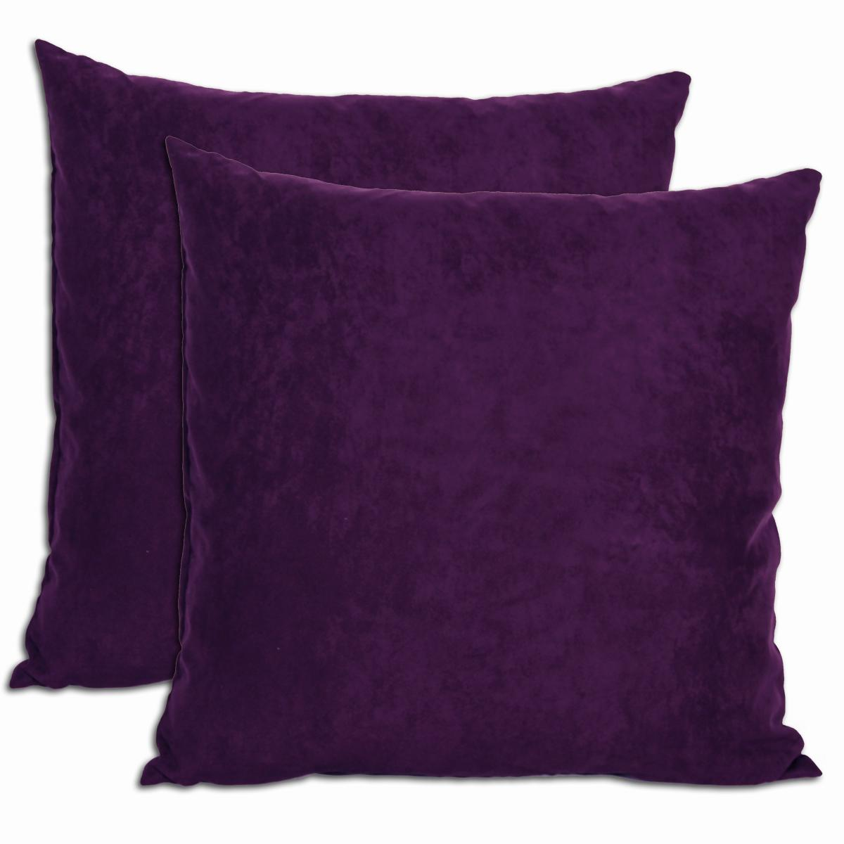 Decorative Pillow Set Purple Microsuede Feather And Down Filled Throw Pillows Set Of 2