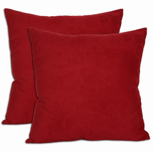 18-inch Red Microsuede Feather and Down Filled Throw Pillows (Set of Two) - Free Shipping On ...