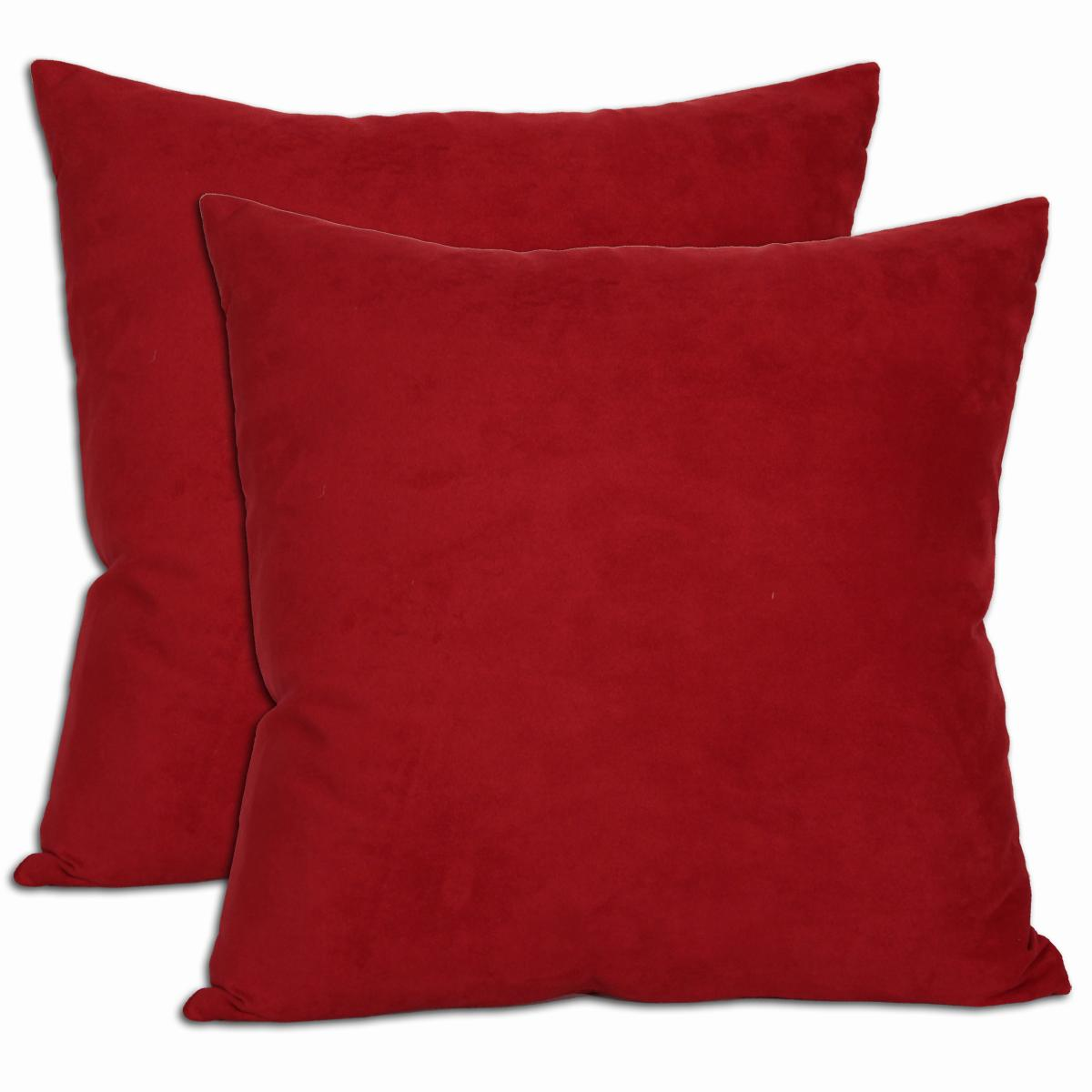 18-inch Red Microsuede Feather and Down Filled Throw Pillows (Set of Two) (Microsuede Decoration Throw Pillow - Red (Set of Two))