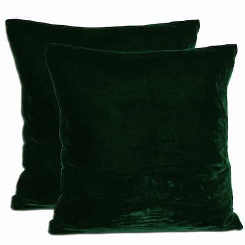 Green Velvet Feather and Down Filled Throw Pillows (Set of 2)