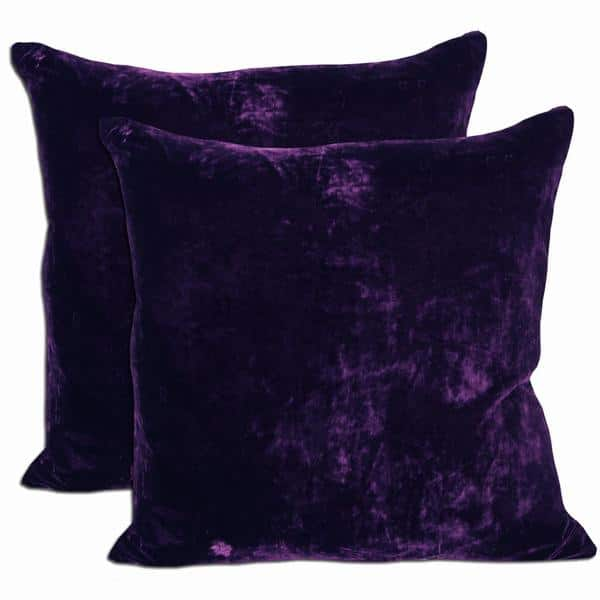 Purple Velvet Feather And Down Filled Throw Pillows