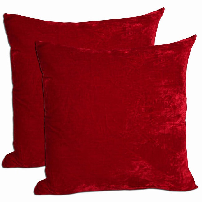 red velvet feather and down filled throw pillows set of 2