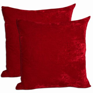 Red Velvet Feather and Down Filled Throw Pillows (Set of 2)