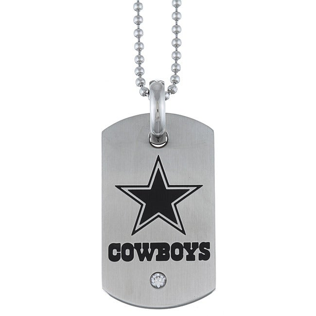 Stainless Steel Cubic Zirconia Dallas Cowboys Dog Tag