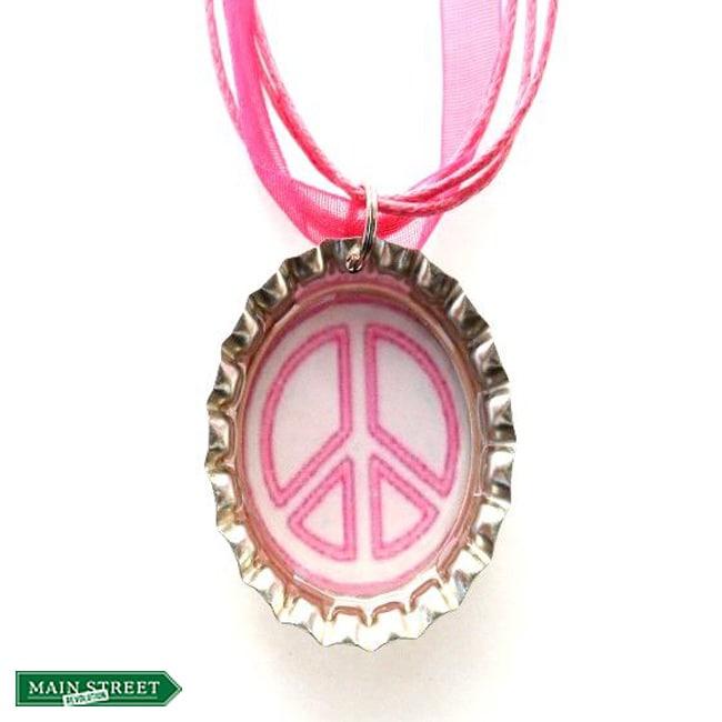 Pink/ White Peace Sign Bottle Cap Necklace