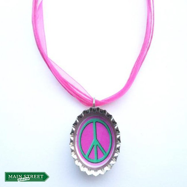 Pink/ Green Peace Sign Bottle Cap Necklace