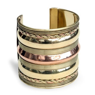 Handmade Brass and Copper Three-tier Cuff Bracelet (India)