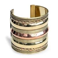 Handmade Brass and Copper Three-tier Cuff Bracelet (India) - Gold